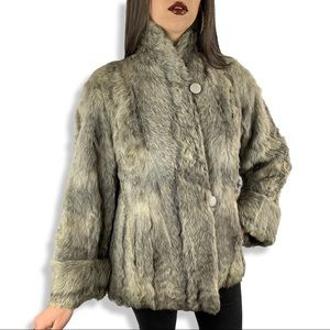 50s natural gray curly goat fur A-line swing coat